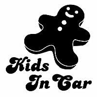 【子供が乗っています Kids in car cookie Ver.11 クッキー カッティングステッカー 2枚組 幅約14cm×高約14cm】黒(ブラック)