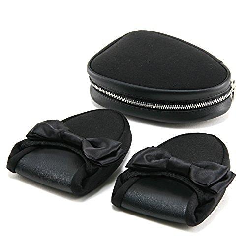 [ハッピークローバー] ブラックリボン かかと付き携帯用スリッパ【ケース付】 (24.0~25.0cm)