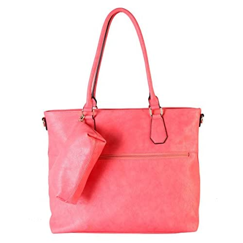 Diophy Diaper Bag PU Leather Weekender Extra Large Tote with Baby Changing Pad, Coral by Diophy