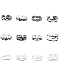 VWH 12 Pcs Rings Set Retro Style Carved Pattern Rings Toe Rings Foot Rings for Women Jewelry