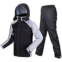 BYWSD Thin Raincoat Rain Pants Suit, Riding Row Split Waterproof Raincoat Jacket (Color : Black Plus Gray, Size : L)