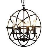 BAYCHEER HL422105 Industrial Vintage Retro LOFT Style Wrought Iron Metal Globe Cage Round Pendant Lamp Fixture Pendant Light
