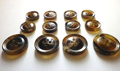 本水牛ボタン №620-1  貴重な茶色 (15mm8個 20mm4個 スーツ1着分SET)