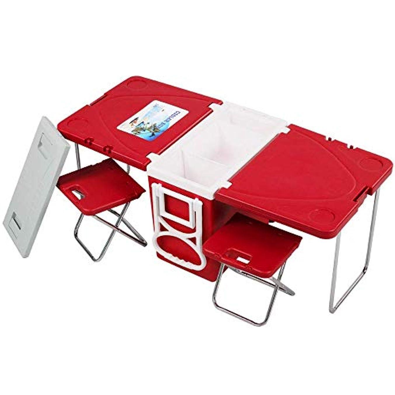 手がかり素晴らしい良い多くの初心者多機能ローリングクーラーボックスピクニックキャンプ屋外用家具セット折りたたみガーデン屋外テーブル+ 2椅子,2