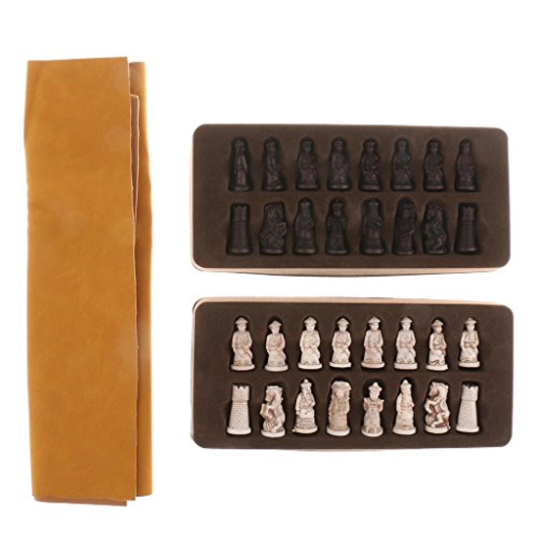 Fityle 中国 古代人形 チェスマン チェスピース 折りたたみ チェス盤 チェスセット