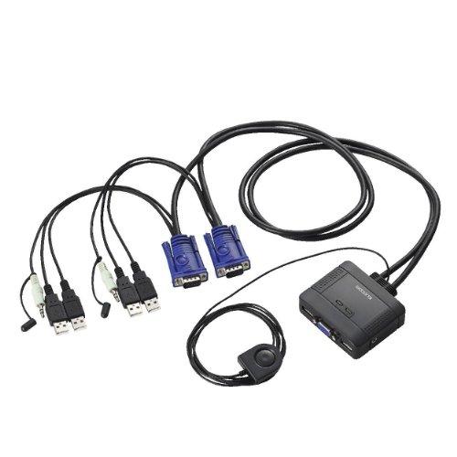 エレコム KVMスイッチ USB VGA スピーカー 手元スイッチ 2台 オーディオ切替 KVM-KUS
