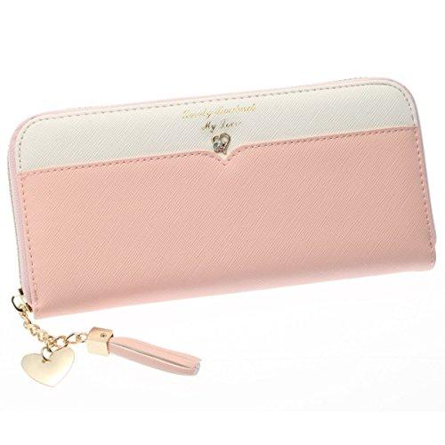 Life Innovation レディース 長財布 財布 ラウンドファスナー ウォレット タッセル付き 4カラー (ピンク)