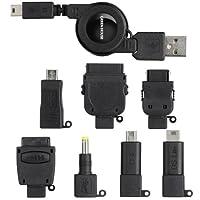 GREEN HOUSE 携帯電話 USB充電ケーブル ブラック (7コネクタ+MiniB5タイプ) GH-USB-8ADK