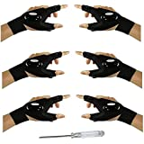 3 Pair Fingerless LED Flashlight Gloves, Men/Women Tool Gadgets Gifts Flashlight Cycling Great for Repairing, Working, Fishin