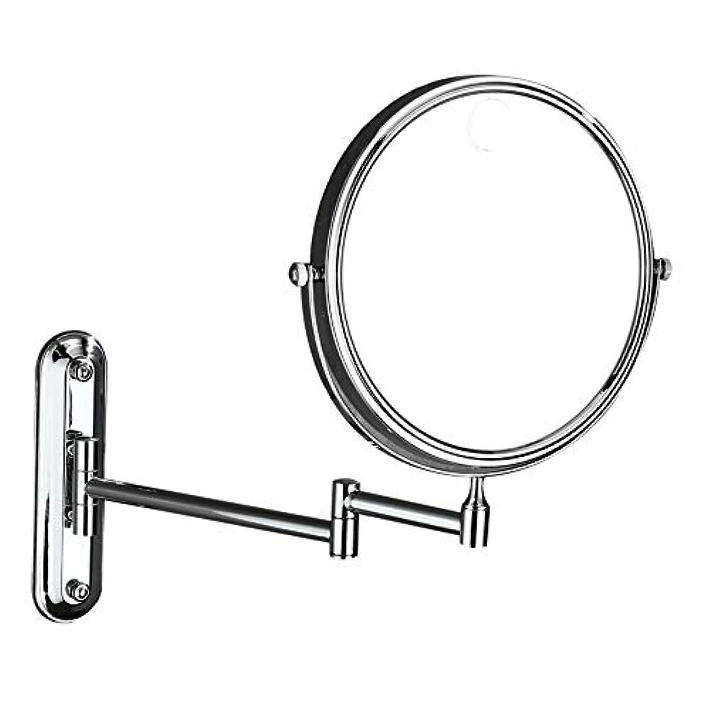 処方する精算マイナス化粧鏡 3倍拡大鏡壁掛け折りたたみ美容化粧鏡8インチ両面回転拡張可能なバスルームバニティミラーヴィンテージシェービングミラー (色 : 銀, サイズ : ワンサイズ)