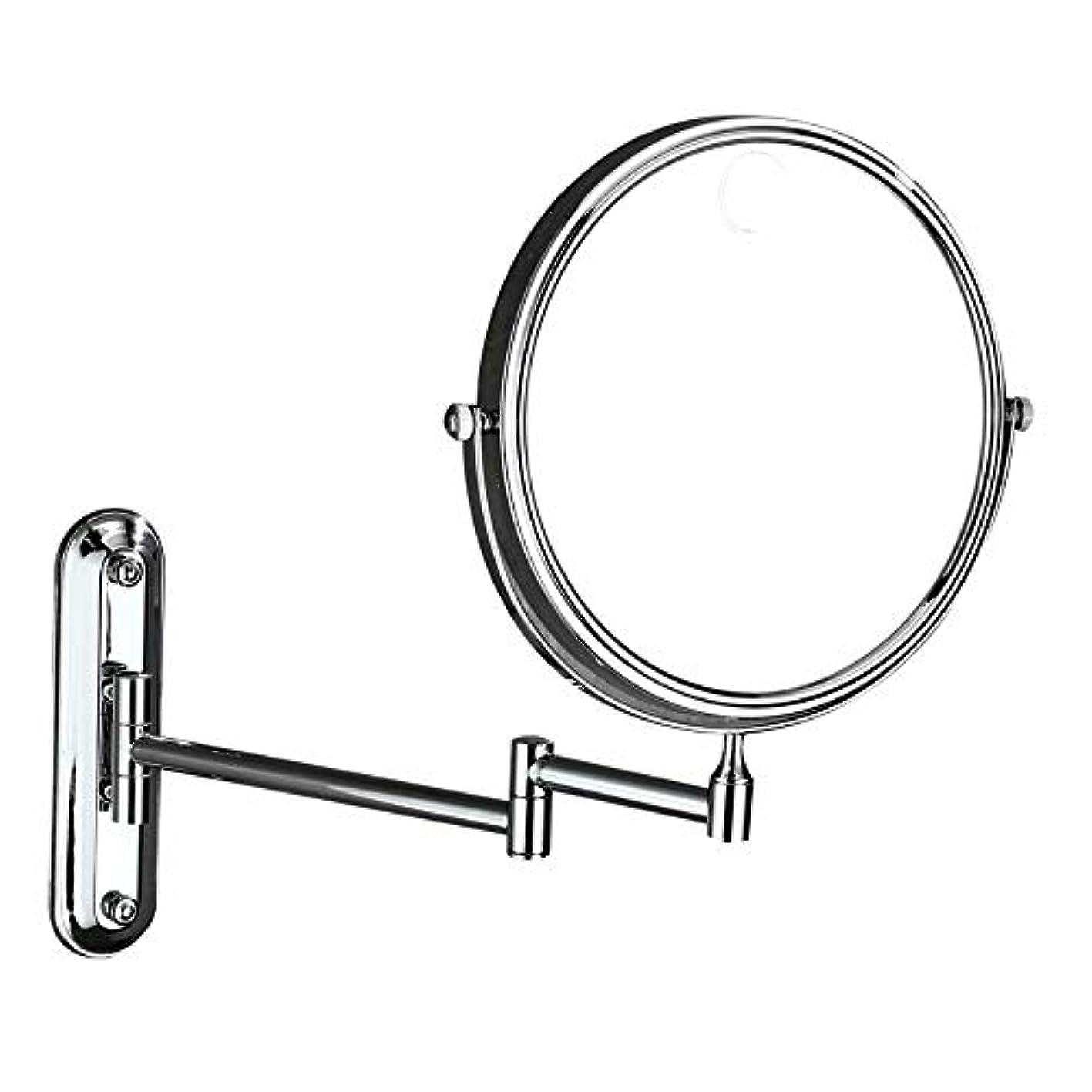 エアコンデコラティブ賢い化粧鏡 3倍拡大鏡壁掛け折りたたみ美容化粧鏡8インチ両面回転拡張可能なバスルームバニティミラーヴィンテージシェービングミラー (色 : 銀, サイズ : ワンサイズ)