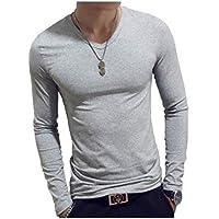 [ SmaidsxSmile(スマイズ スマイル) ] Tシャツ カットソー トップス 長袖 無地 Uネック Vネック 薄手 ぴったり メンズ