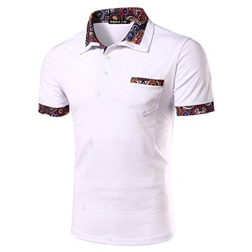 (メイク トゥ ビー) Make 2 Be メンズ カジュアル ポロシャツ ゴルフ MF27 (04.Paisley1_White_M)