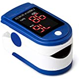 MQ Fingertip Pulse Oximeter Blood Oxygen SpO2 Sports and Aviation Saturation Fingertip Monitor (Blue)