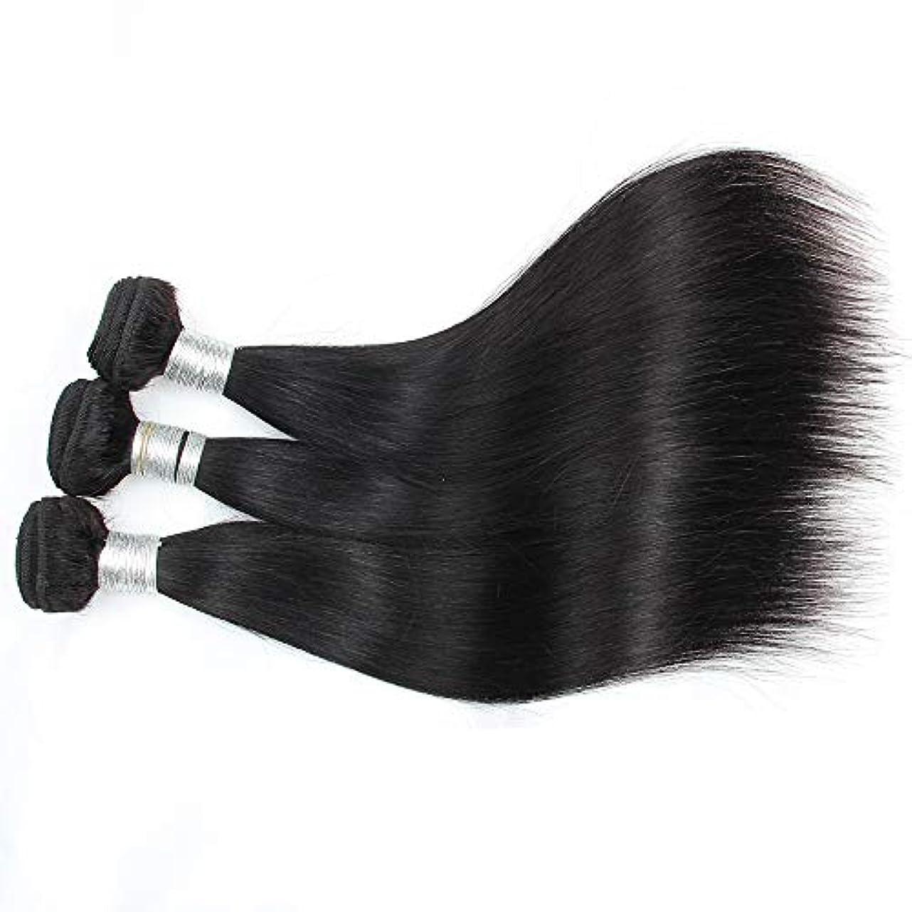 混乱海岸ロッカーHOHYLLYA ブラジルの人間の髪織り1バンドル100%人毛エクステンションナチュラルブラックカラー横糸10-28インチロングストレートヘアウィッグウィッグ (色 : 黒, サイズ : 10 inch)