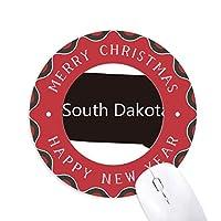サウスダコタの米国のマップのシルエット 円形滑りゴムのクリスマスマウスパッド