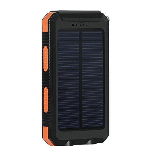 Eonfine-正規品 10000mAh 大容量 ソーラーチャージャー モバイルバッテリー 緊急防災用 SOS機能付き 羅針盤が付き 防水 防塵 耐衝撃 LEDライト付き 旅行 キャンプの良品 iPhone iPad iPod Xperia Galaxy Nexus等対応 2USBポート 二つの充電方法 ソーラー パワーバンク (オレンジ&ブラック)