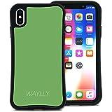 WAYLLY(ウェイリー) iPhone XS Max ケース アイフォンXS MAXケース くっつくケース 着せ替え 耐衝撃 米軍MIL規格 [スモールロゴ グリーン] MK