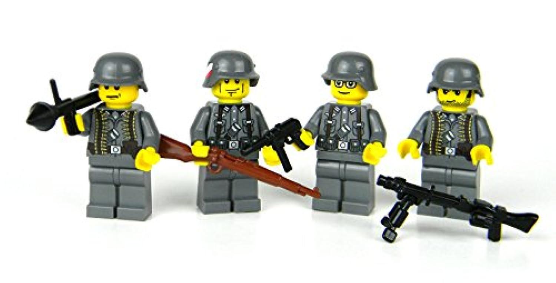 ドイツ兵フルコンプリートセット フィグ4体 フル装備 LEGOカスタムパーツ アーミー 装備品 武器 カスタムフィグ