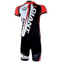 GIANT自転車ウェア ジャイアントサイクリングウェアジャージ赤上下半袖セットMサイズ(並行輸入品)