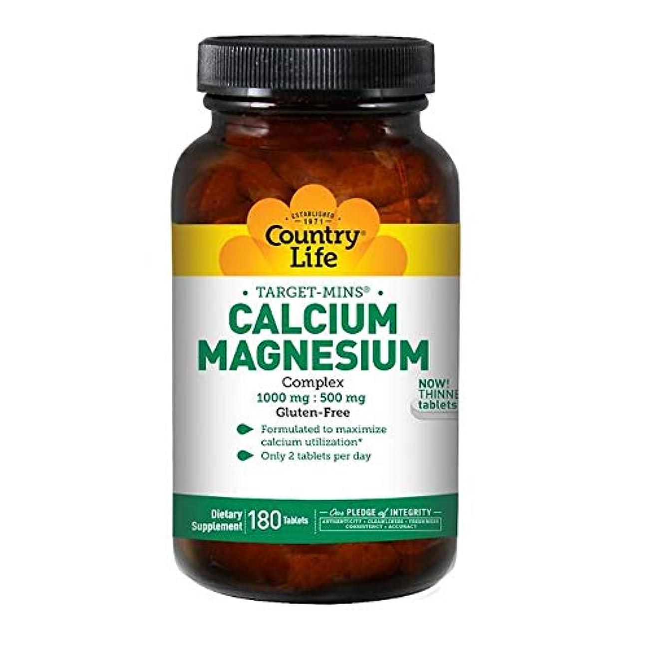 影のある粉砕する磨かれたCountry Life ターゲット ミネラル カルシウム マグネシウム 複合体 180錠 【アメリカ直送】