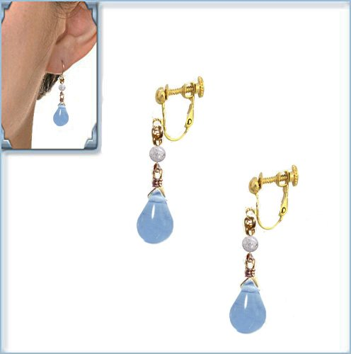 [해외]크랙 수정 아쿠아 마린 물방울 드롭 블루 귀걸이 골드/Crack Crystal Aquamarine Droplet Drop Blue Earrings Gold