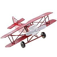 Baoblaze ヴィンテージ  メタル  飛行機モデル グライダー 複葉機  おもちゃ 4色選べる 高品質 - 赤
