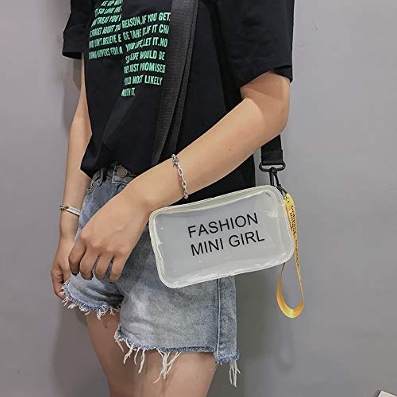 キャラクター寄託失礼女性ファッションゼリー手紙ストリートシンプルデザインショルダーバッグメッセンジャーバッグ、ゼリー手紙メッセンジャーバッグハンドバッグ携帯電話バッグ、ファッション汎用メッセンジャーバッグショルダーバッグハンドバッグ (白)