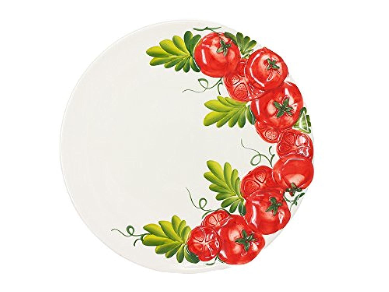 トマト柄 ラウンドプレート 30x30 h2.5 イタリア製 陶器 食器 サラダ?パスタ用 手作り 白 大皿 小鉢 トレイ d36