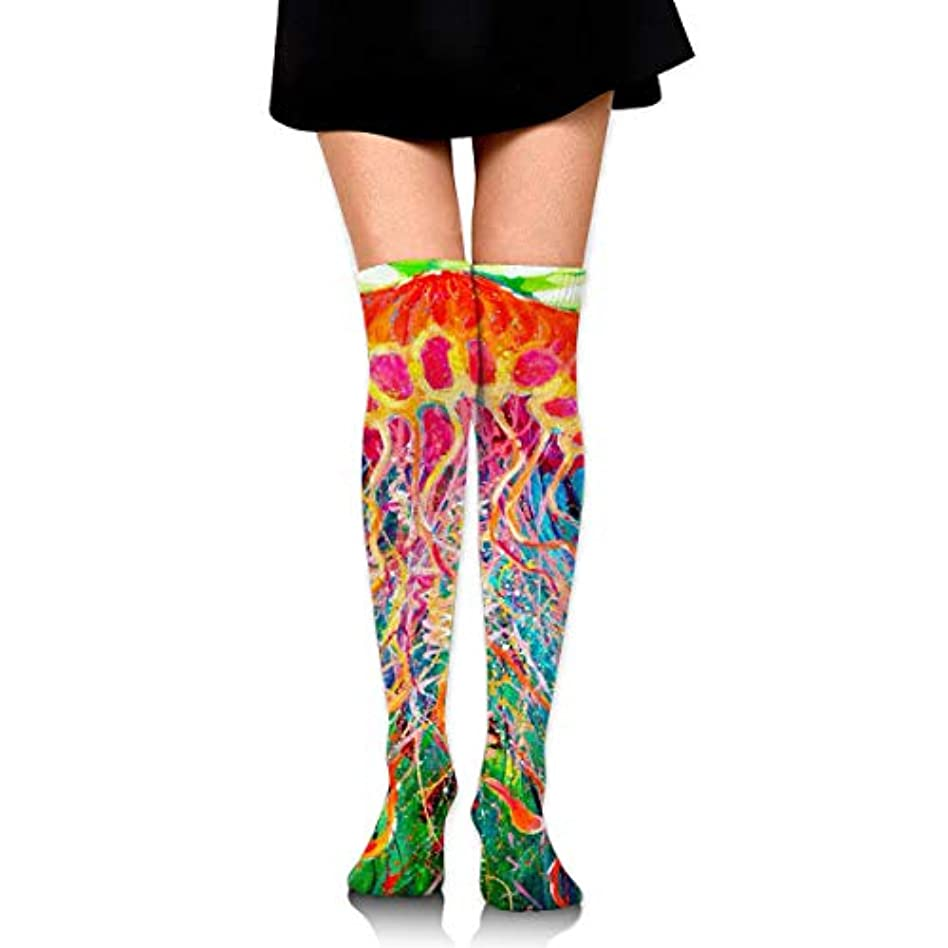 夫婦ヒューマニスティック社説MKLOS 通気性 圧縮ソックス Breathable Extra Long Cotton Thigh High Watercolor Colorful Jellyfish in Sea Socks Exotic Psychedelic...