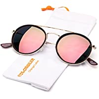 COLOSSEIN Retro Fashion Women Sunglasses Double Bridge Metal Frame Polarized Circle Lens, 100% UV Protection