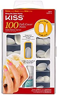 KISS 100 Full Cover Nails, White, Active Oval (1 pack)