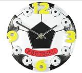 置き 時計 オシャレ サッカー ボール インテリア 雑貨 立体 掛け 時計 クロック 直径 30cm (白)
