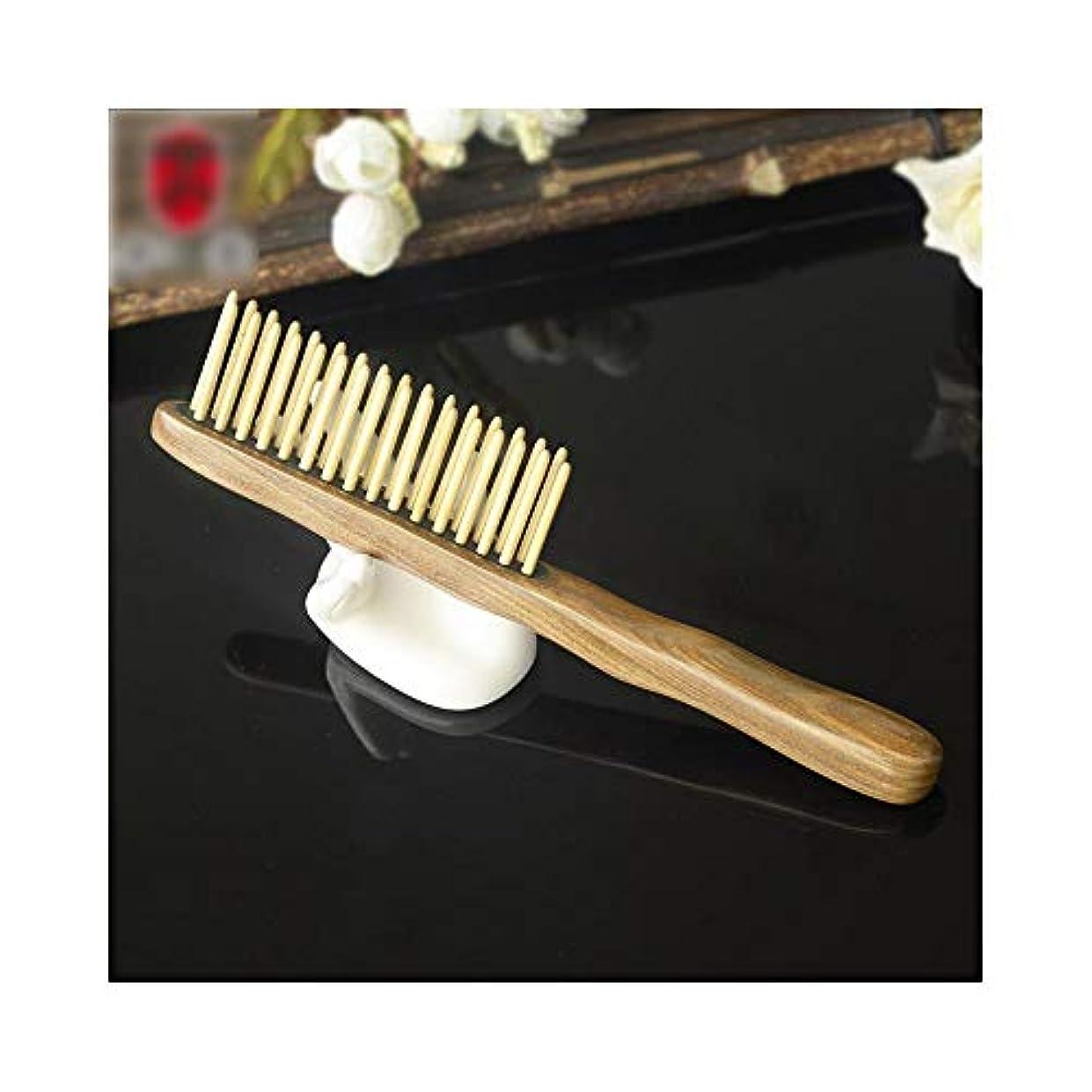 ばか拍車添加WASAIO 自然なサンダルウッドの木製の櫛の二重列のピニオンの櫛-もつれ、静的なヘアブラシのブラシ無し手作りの木製の反静的なマッサージのエアバッグ