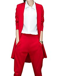 VITryst 女性スリム裁縫作業所スーツジャケット2ピースセット