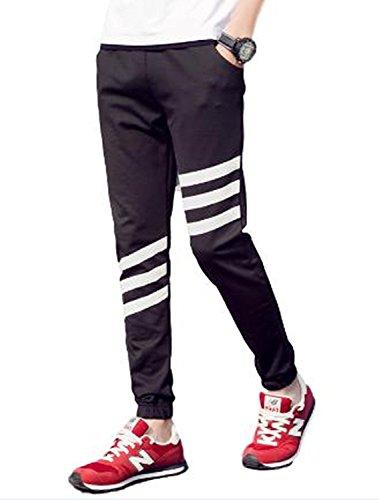 kimurea select 3ライン スリム スウェットパンツ ジャージ ロング ジョガー パンツ (Lサイズ, ブラック)