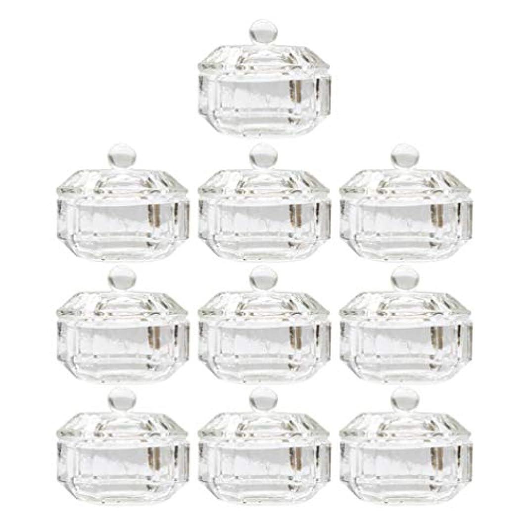 メガロポリスロバ先のことを考えるLurrose 10ピースネイルアクリル液体カップアクリル液体粉末ダッペン皿ガラスクリスタルカップガラス製品ツール用蓋容器付きネイルアート