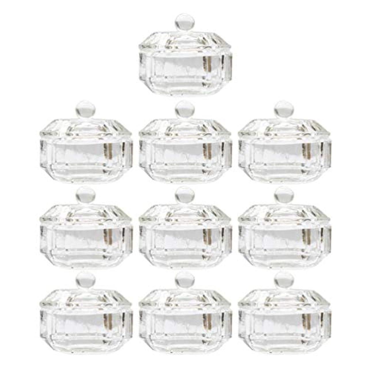 想定安心首謀者Lurrose 10ピースネイルアクリル液体カップアクリル液体粉末ダッペン皿ガラスクリスタルカップガラス製品ツール用蓋容器付きネイルアート