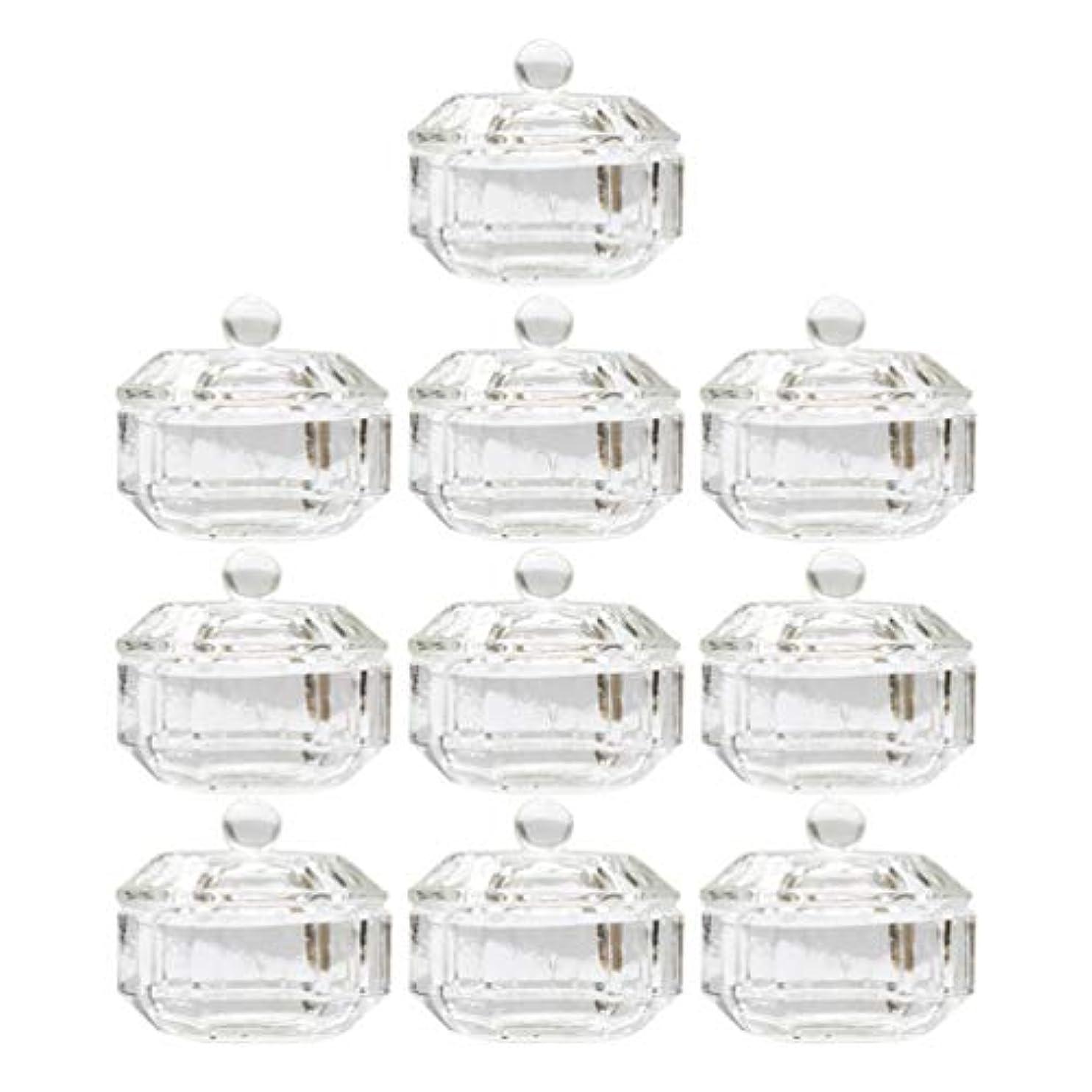 自発万歳最少Lurrose 10ピースネイルアクリル液体カップアクリル液体粉末ダッペン皿ガラスクリスタルカップガラス製品ツール用蓋容器付きネイルアート