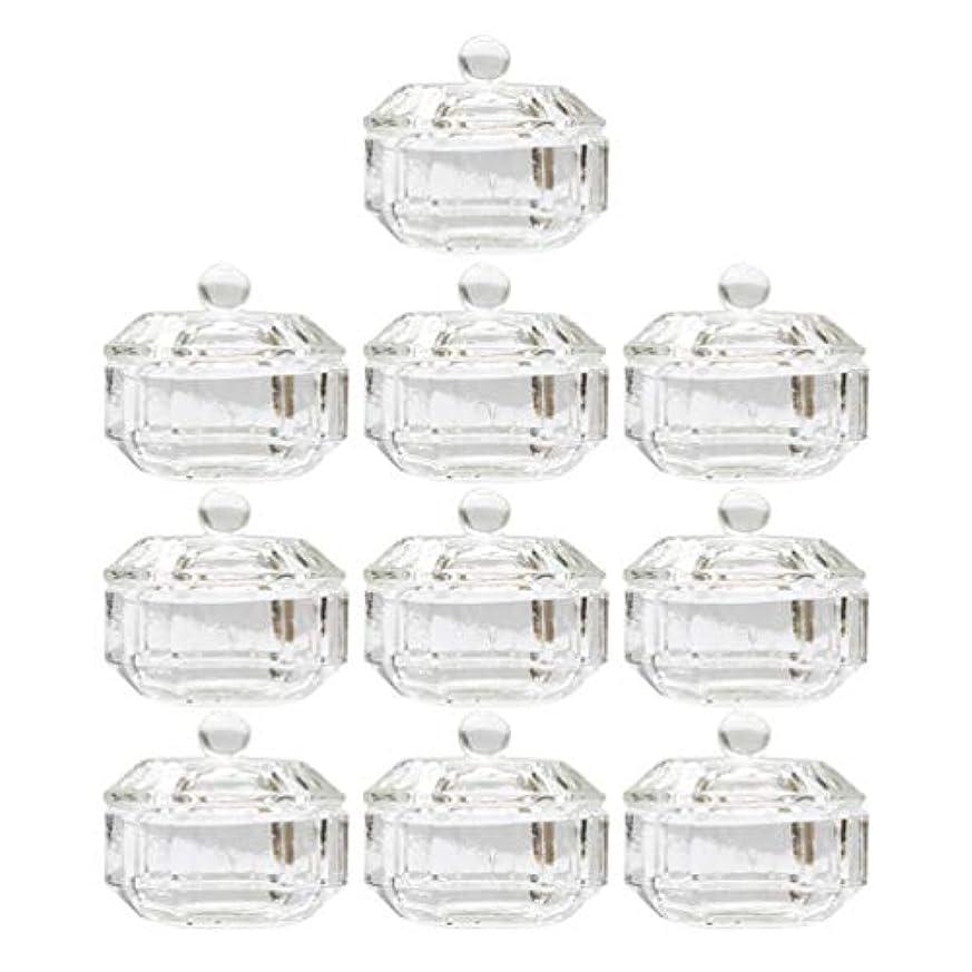 アルコールアリス違法Lurrose 10ピースネイルアクリル液体カップアクリル液体粉末ダッペン皿ガラスクリスタルカップガラス製品ツール用蓋容器付きネイルアート