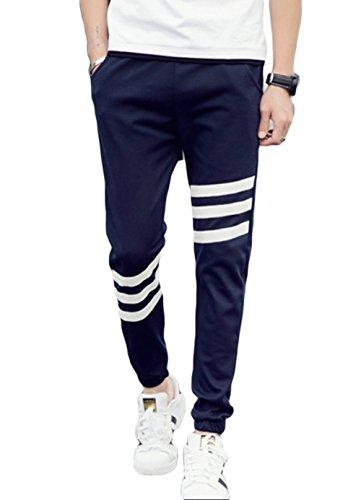 (コズーン)KO ZOON B15 メンズ ロング パンツ ジョガーパンツ スウェット ズボン ジャージ ボトム 3本 ライン ストリート スポーツ メンズファッション M ~ XXXXXL 大きいサイズ も (紺M)