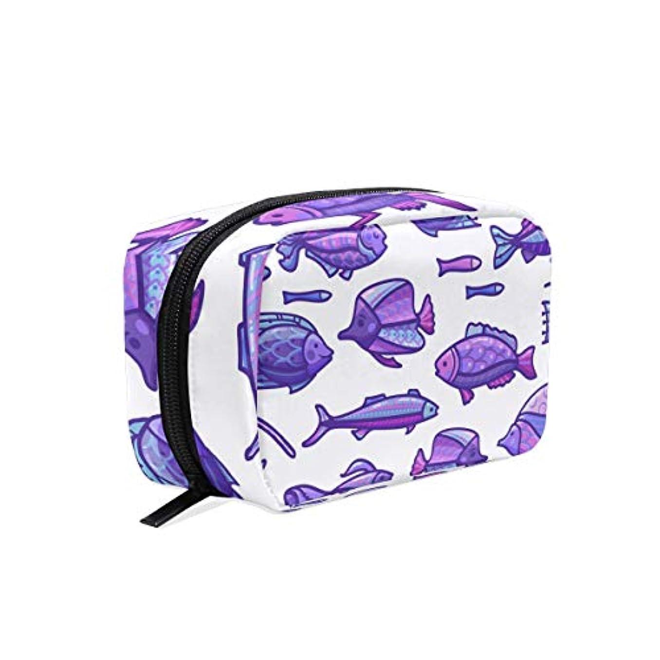 コジオスコ分布資産紫の宝石熱帯魚 化粧ポーチ メイクポーチ コスメポーチ 化粧品収納 小物入れ 軽い 軽量 旅行も便利 [並行輸入品]