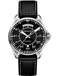 Hamilton ハミルトン メンズ 時計 腕時計 Men's 'Khaki Aviation' Swiss Automatic Stainless Steel and Black Leather Casual Watch (Model: H64615735)