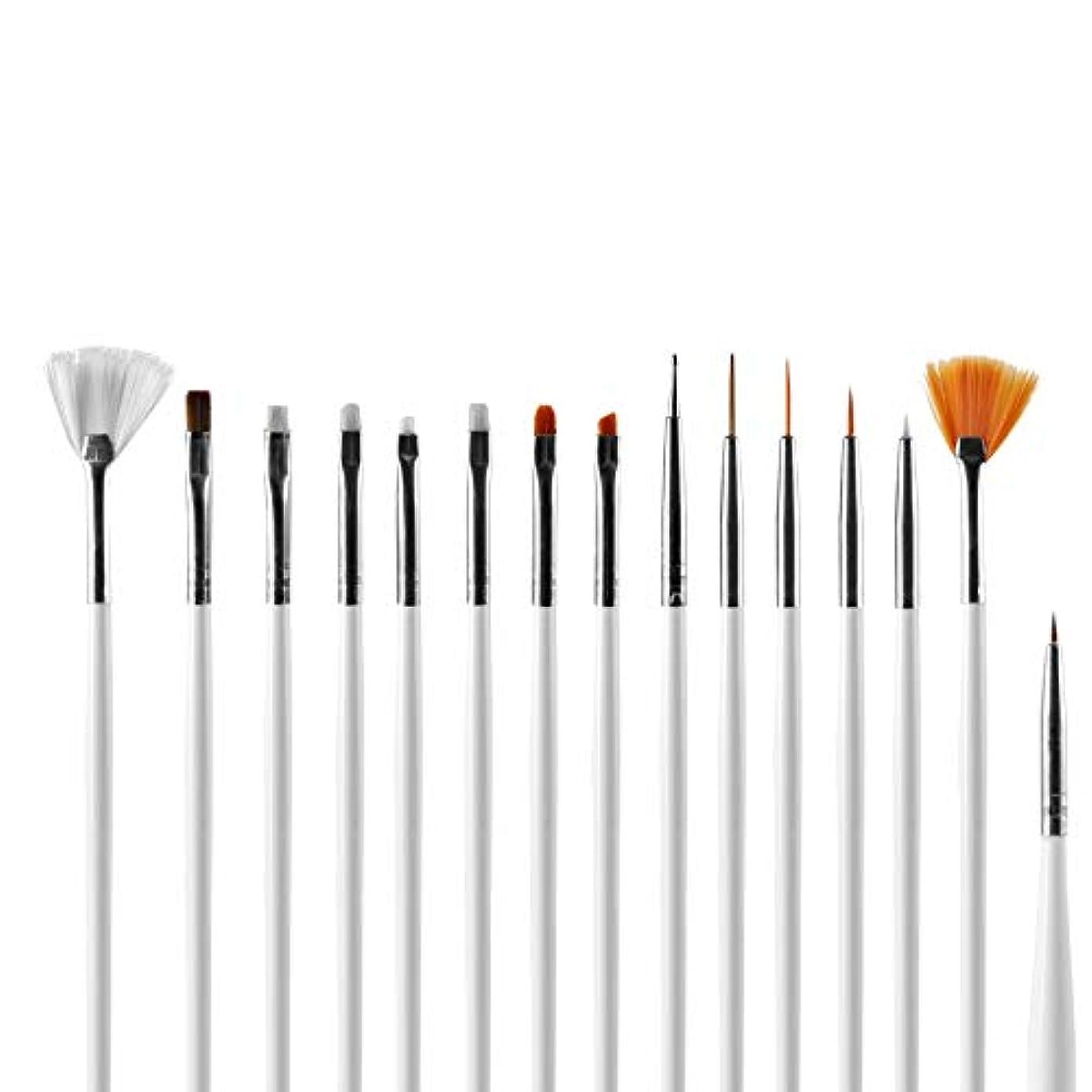 傀儡とまり木威信メーリンドス ネイルデザインツール ネイルアートブラシペン ライナーペン/ドットペン/絵画用 プロジェルネイルパウダー3DデザインネイルDIYネイルペン 15本セット