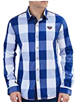 chenshiba-JP メンズロングスリーブチェック柄ボタンダウンシャツカジュアルドレスシャツ Blue L