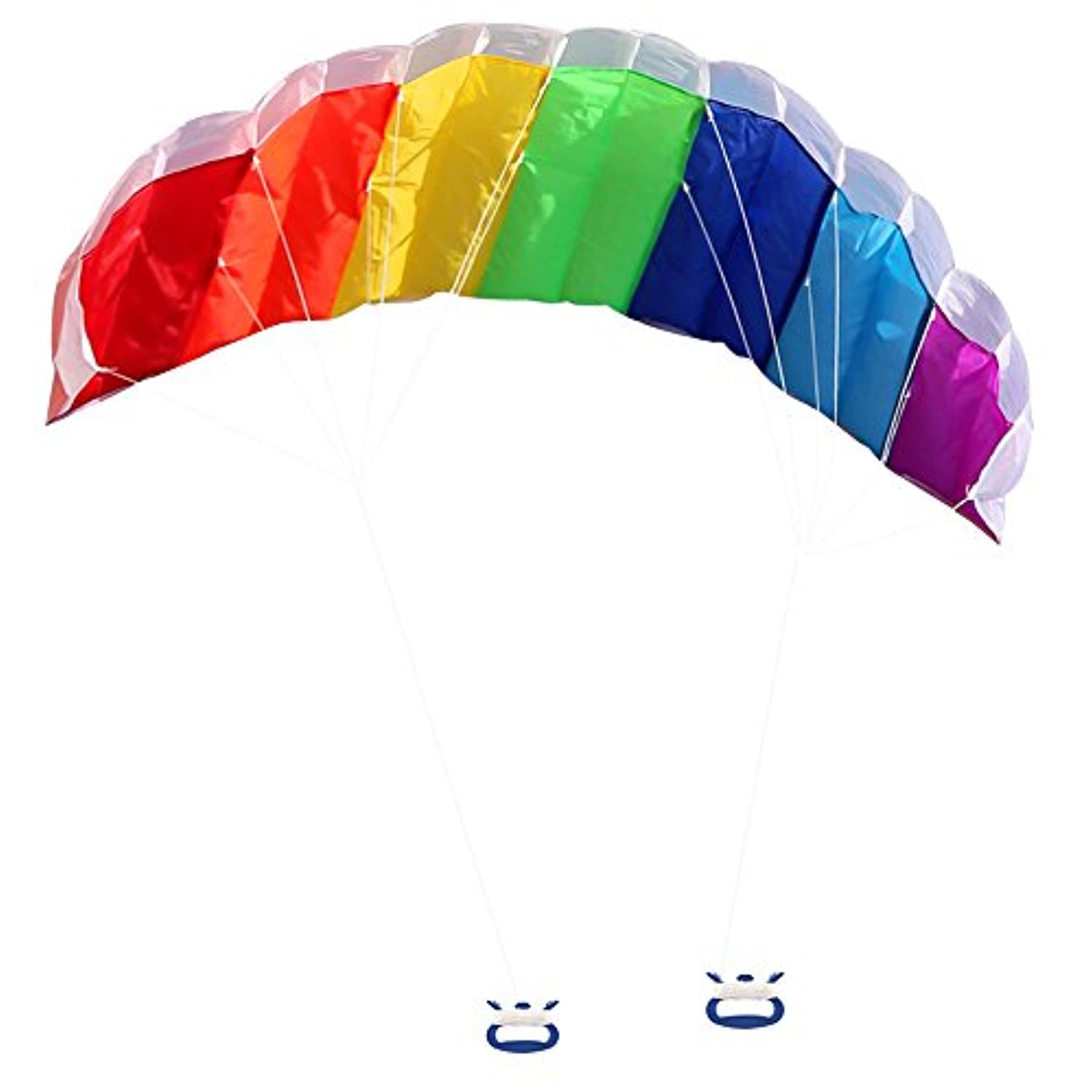 Rainbow Sport Kite, Zooawa 160cm Dual Line Stunt Parafoil with Flying Tools Outdoor Fun Play Toy - Rainbow