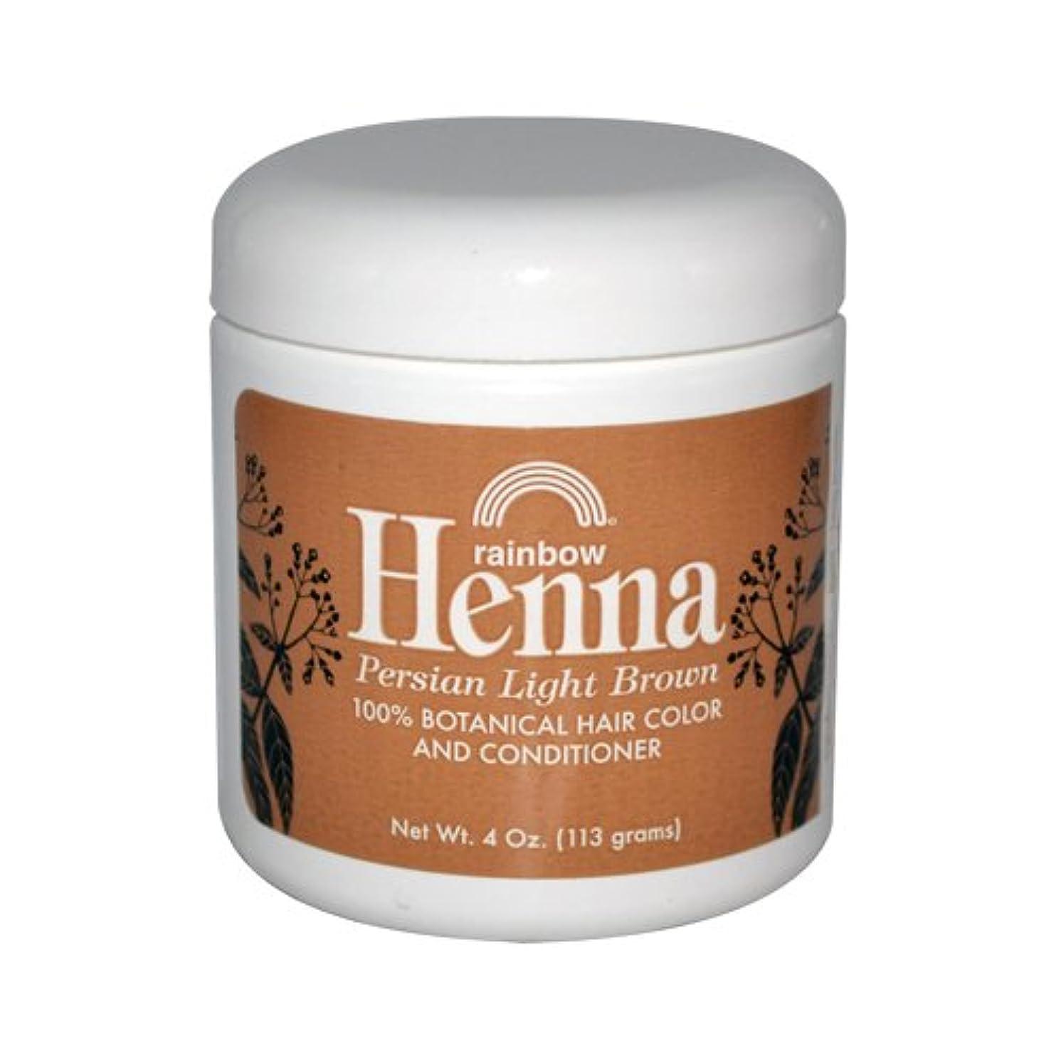 おなじみの機密持続的Rainbow Research Henna Persian Light Brown Hair Color and Conditioner Organic 113 g (並行輸入品)