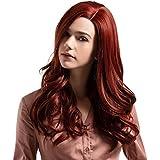 かつら赤の長い髪の巻き毛の自然なかつら高温シルクウィッグ24インチ