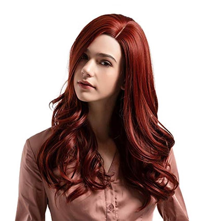 意味推測するかつら赤の長い髪の巻き毛の自然なかつら高温シルクウィッグ24インチ