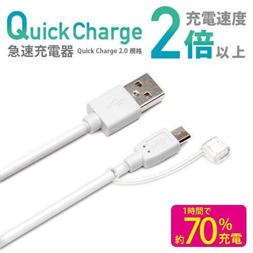 iCharger 急速充電対応 micro USBケーブル 2A ホワイト PG-MQC06WH PG-MQC06WH